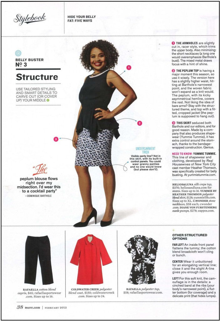 Yummie shapewear helps with carving out, as seen in MORE Magazine.