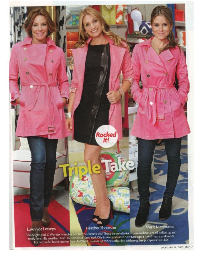 Heather Thomson and fellow stars display various pink jacket looks.