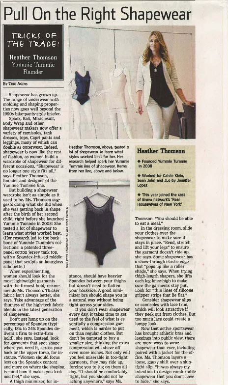 Yummie founder Heather Thomson featured in The Wall Street Journal.