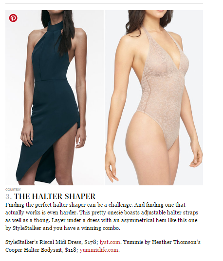 Yummie's Cooper Halter Bodysuit displayed in an InStyle article.
