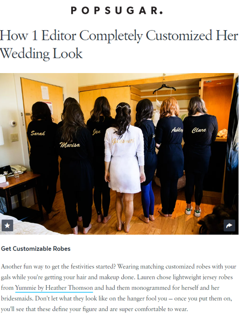 Popsugar highlights bridesmaids wearing Yummie Lightweight Short Robes.