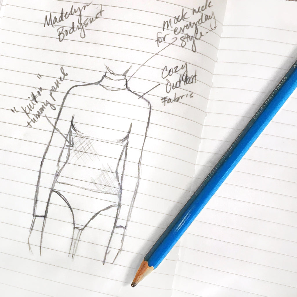 Sketch of Yummie shapewear.