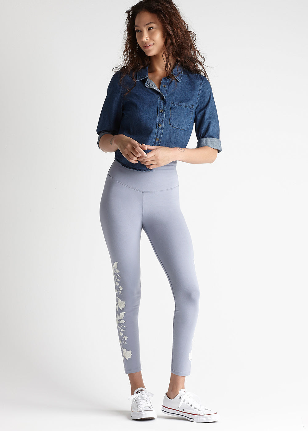 Yummie Cotton Stretch Shaping Legging With Floral Embroidery