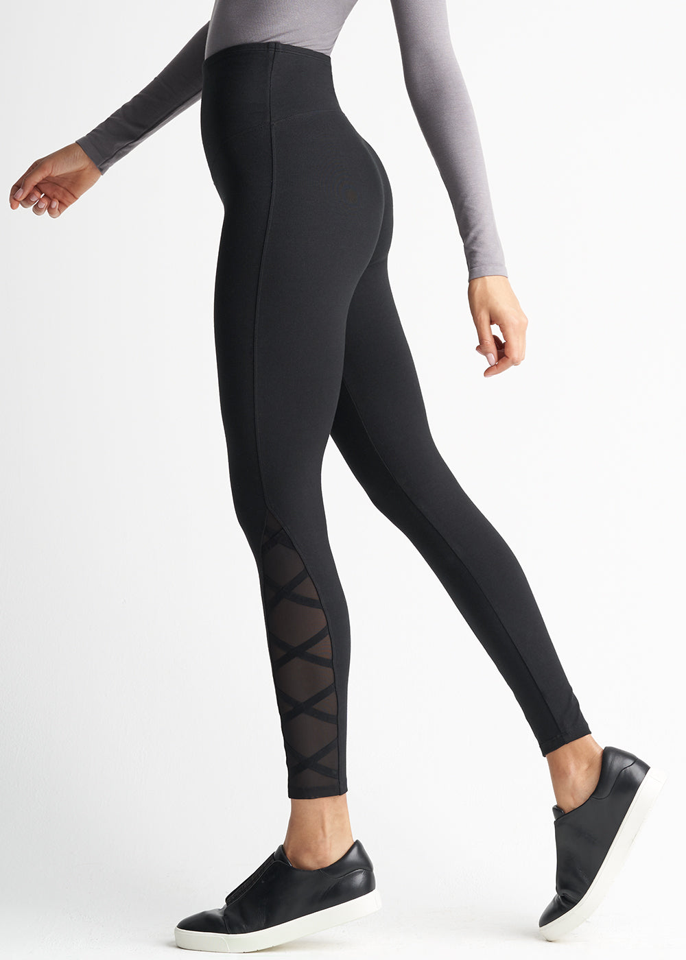Yummie Cotton Stretch Shaping Legging With Mesh & Elastic Crossover
