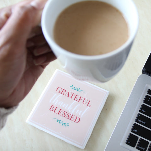 Grateful Thankful Blessed Fall Coaster