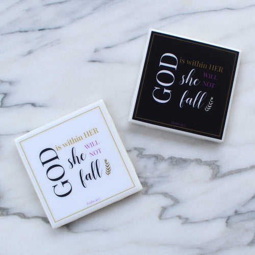 God is within Her She Will Not Fall Coaster | Indulge Collection - Coaster This