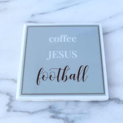 Coffee. Jesus. Football. Coaster | Fathers Collection - Coaster This