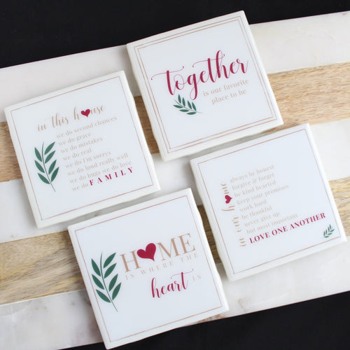 Heart & Home Coaster Set | Family/Home Collection - Coaster This