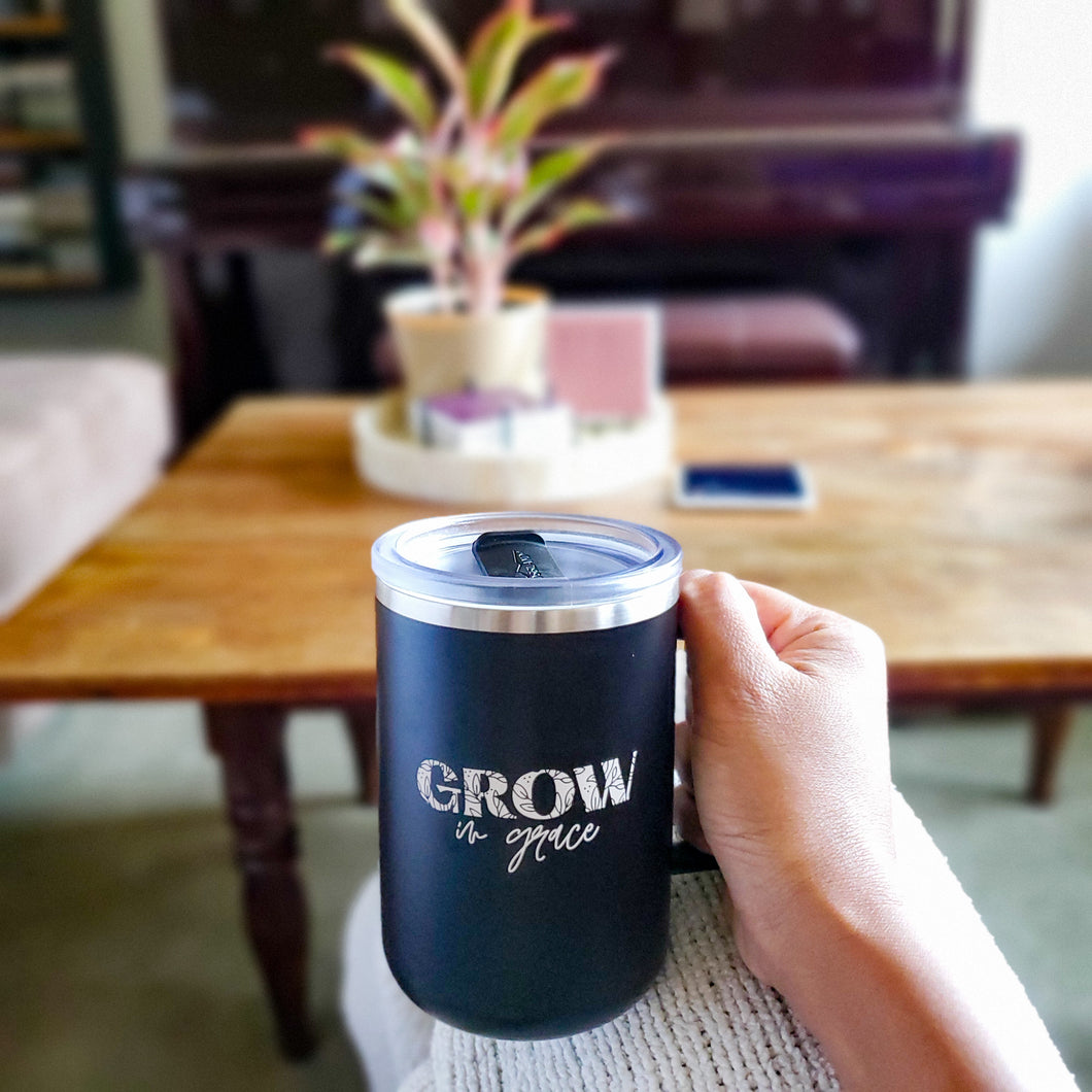 Grow in Grace Travel Mug - Coaster This