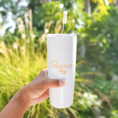 Brighter Days Tumbler & Straw Set - Coaster This