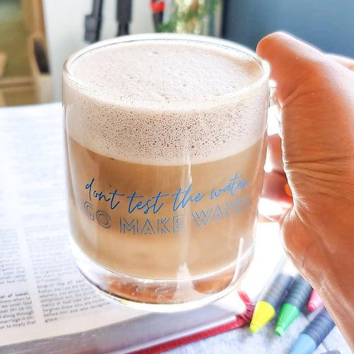 *IMPERFECT* Go Make Waves Glass MUG ONLY - Coaster This