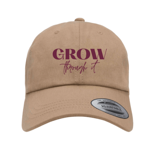 Grow Through It Khaki Hat with Maroon print