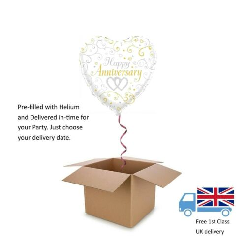 "18"" Oaktree Anniversary Silver Linked Hearts Balloon in a Box with Helium"