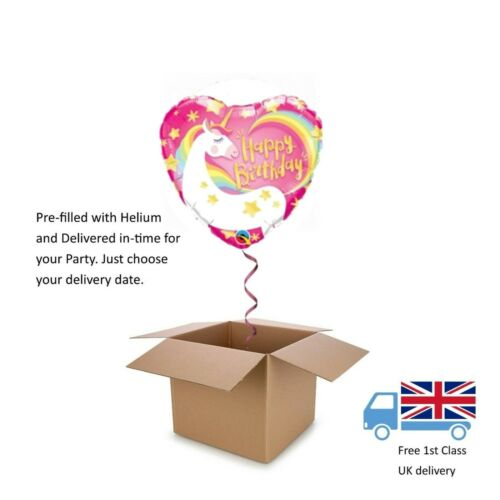 "18"" Qualatex Pink Heart shaped Girls Happy Birthday Unicorn Balloon in a box"