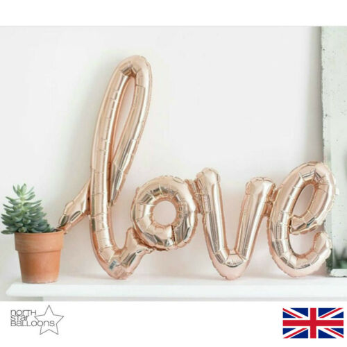 "40"" Rose Gold / Red LOVE Script Shape Wedding Anniversary Foil Balloon"