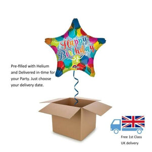 "18"" Anagram Holographic Star Sparkle Happy Birthday Balloon in a Box with Helium"