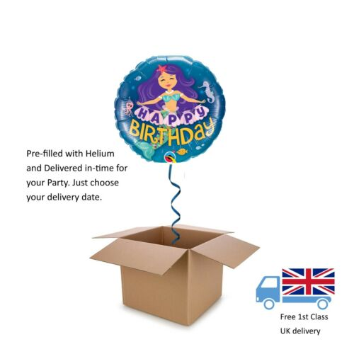 Qualatex Mermaid Happy Birthday Helium round Balloon in a box surprise 18""