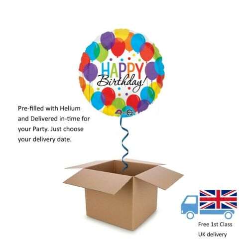 "18"" Anagram Happy Birthday Balloon Bash Round Balloon in a Box with Helium Gift"