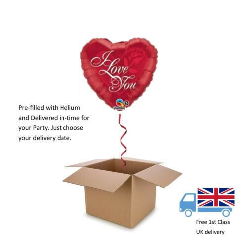 Red Rose Printed Valentines Day Love Helium Heart Balloon in a box surprise 18""