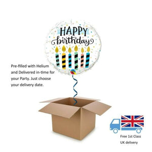 "18"" Qualatez Happy Birthday Candles printed Balloon in a Box with Helium"