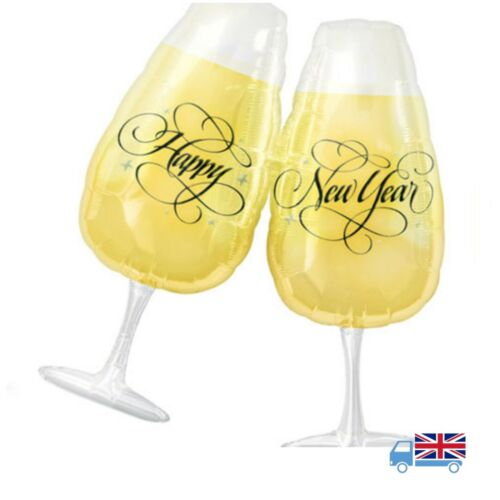 "Anagram / Amscan 30"" INCH NEW YEAR TOASTING GLASSES SUPERSHAPE FOIL BALLOON"