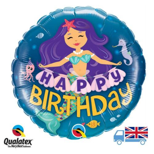 "18"" Mermaid Happy Birthday Helium Quality Balloon undersea girls party"