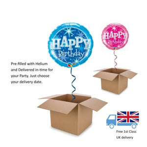 "18"" Qualatex Pink or Blue Happy Birthday Balloon in a Box with Helium"