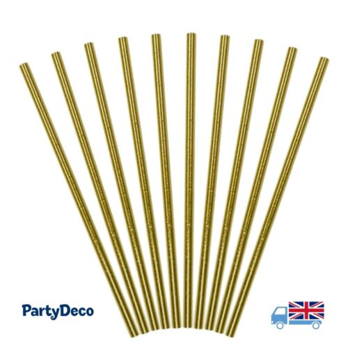 Metallic Foil Gold Paper Straws ~ Wedding, Birthday Party, Baby Shower, New Year