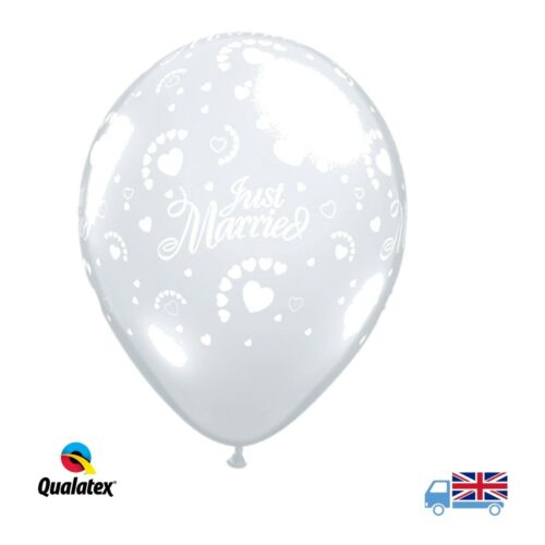 "Just Married Diamond Clear Hearts Around 11"" Qualatex Latex Wedding Balloons"