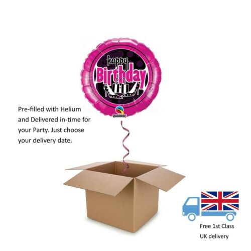 "18"" Qualatex Shoes and Bag Fashion Happy Birthday Balloon in a Box with Helium"