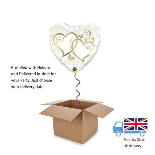 "18"" Qualatex Anniversary Gold Entwined Hearts Balloon in a Box with Helium"
