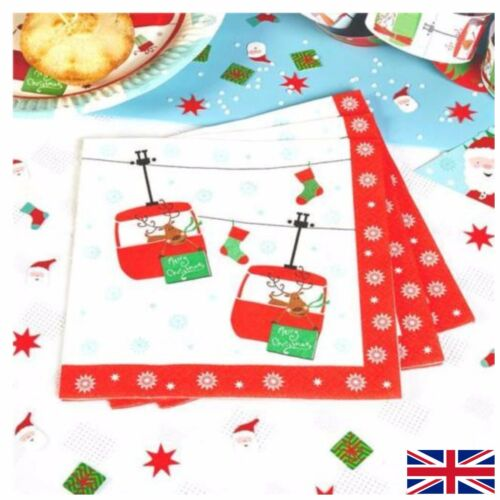 20 Festive Fun Paper Napkins Santa Rudolf - Christmas Party Tableware Serviette
