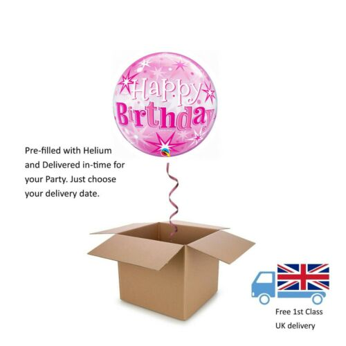 "22"" Qualatex Bubble Pink or Blue Happy Birthday Balloon in a Box with Helium"