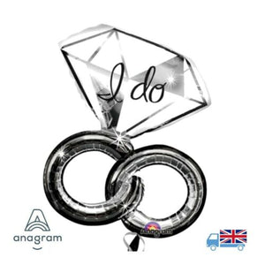 "Giant 30"" x 27"" I do Wedding Rings Anagram Helium Balloon Hen Night / Engagement"