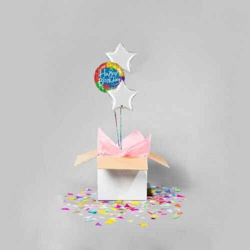 Holographic Happy Birthday and silver stars Balloon Bouquet in a Box with Helium