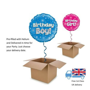 "18"" Holographic Blue or Pink Birthday Boy / Girl Balloon in a Box with Helium"