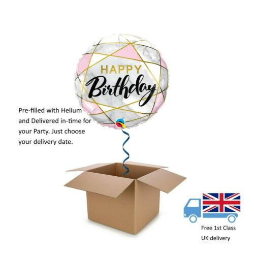 "18"" Qualatex Marble Effect Happy Birthday Balloon in a Box with Helium"