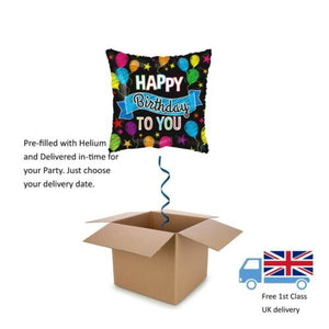 "18"" Kaleidoscope Black Square Happy Birthday to You Balloon in a Box with Helium"