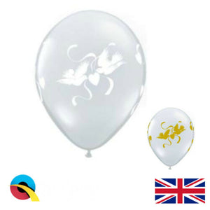 "Qualatex Love Doves 11"" 16"" White / Gold and Diamond Clear Wedding Balloons"