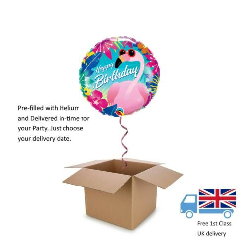 "18"" Qualatex Summer Pink Flamingo Happy Birthday Balloon in a Box with Helium"