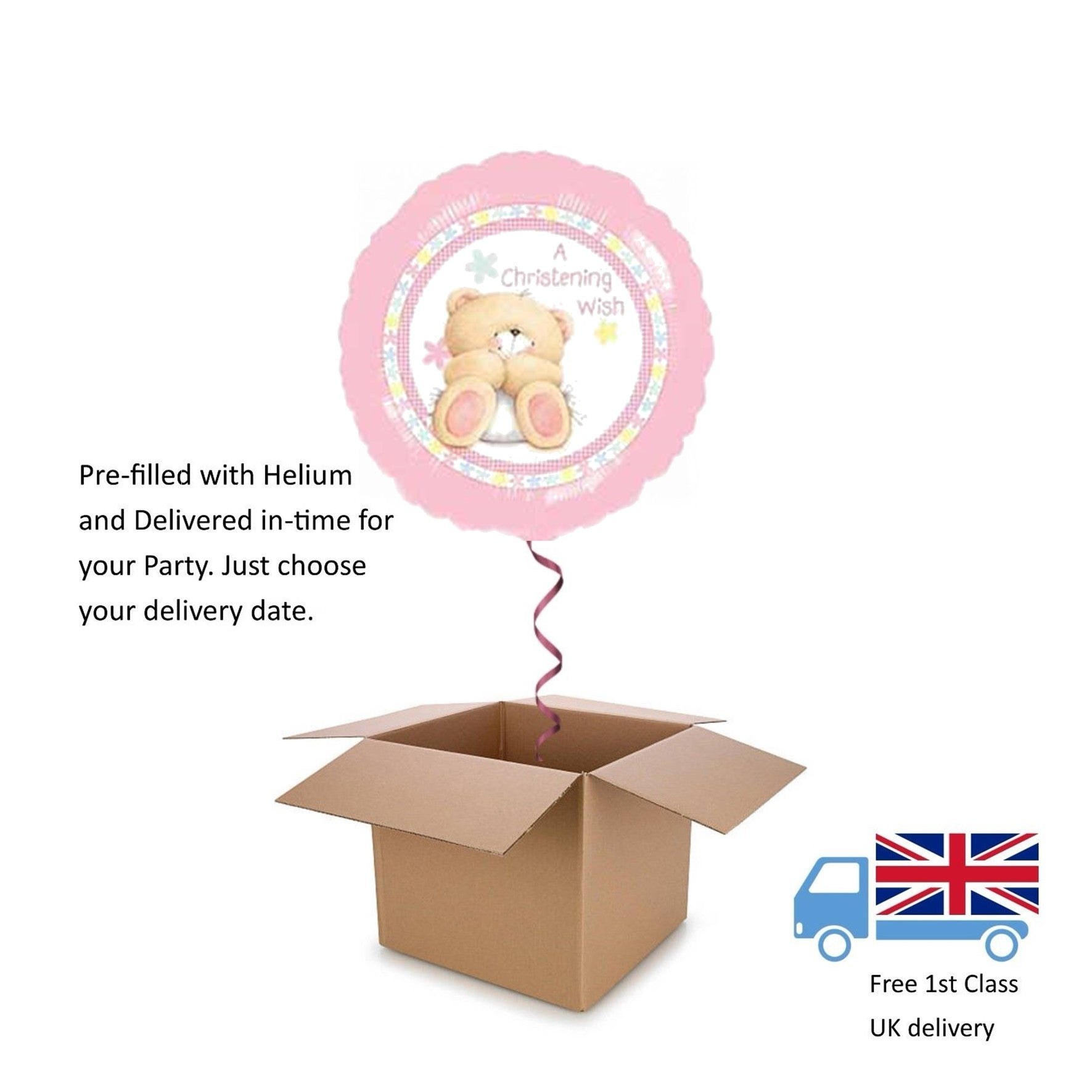 "18"" Anagram Christening Wish Tatty Teddy Bear Balloon in a Box with Helium Gift"