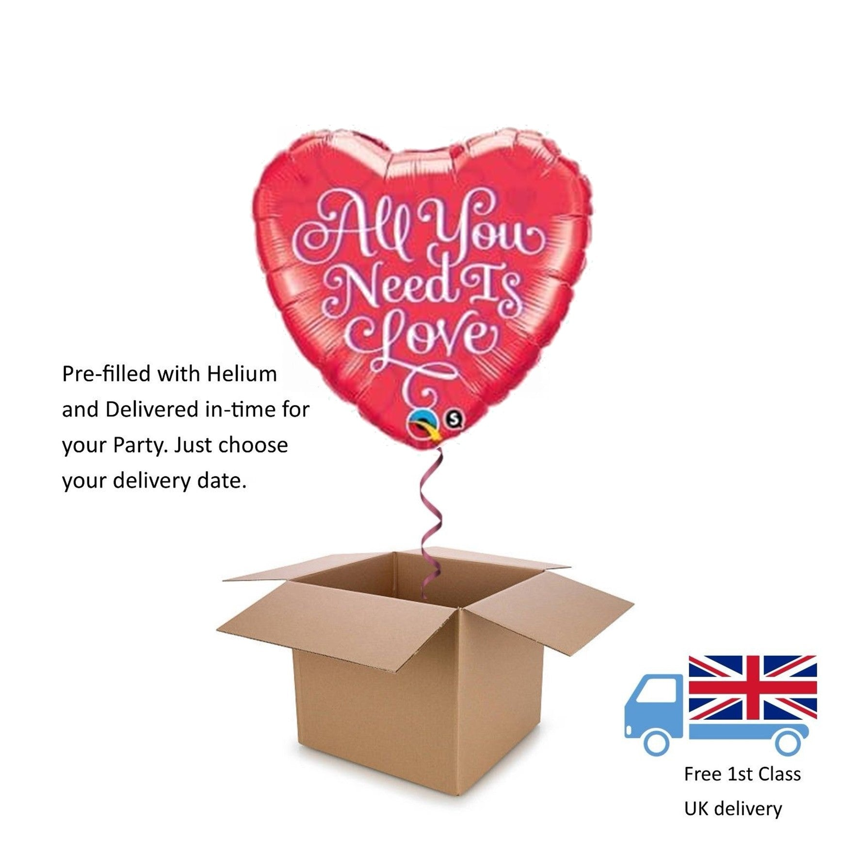 "18"" Qualatex All You Need is Love Valentines Day Helium Balloon in a Box Gift"