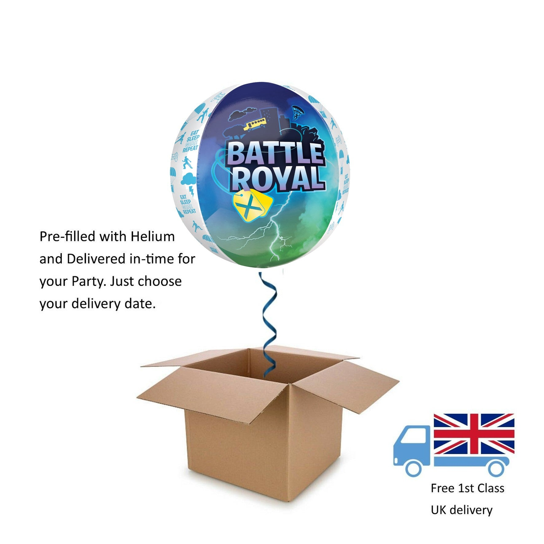 "15"" Boys Battle Royal Game 3D Orbz Balloon in a Box with Helium Surprise Gift"