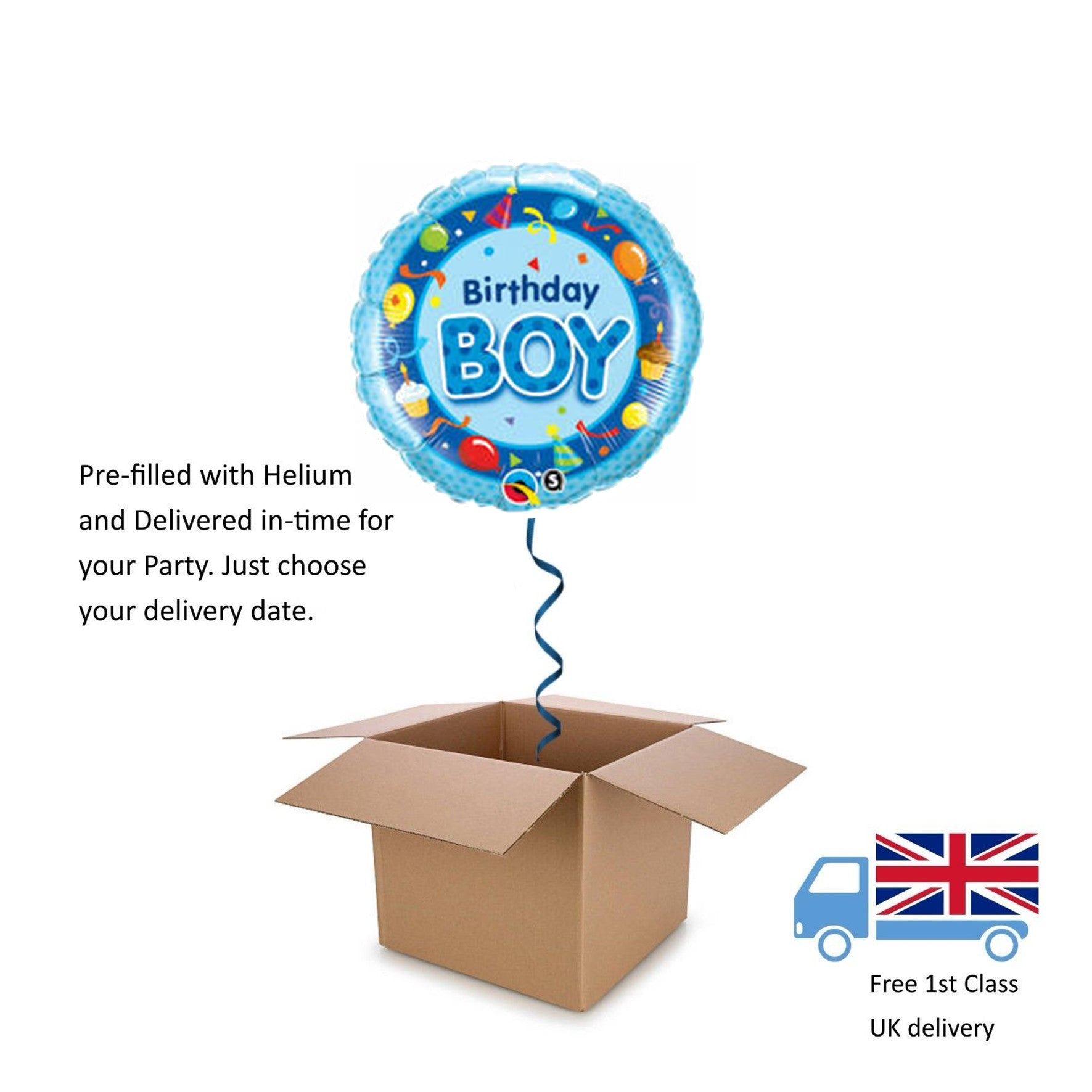 "18"" Qualatex Blue Birthday Boy Cake and Balloons Balloon in a Box with Helium"