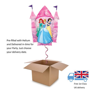 "35"" Large Disney Princesses Castle Shape Girl's Helium balloon in a box Birthday"