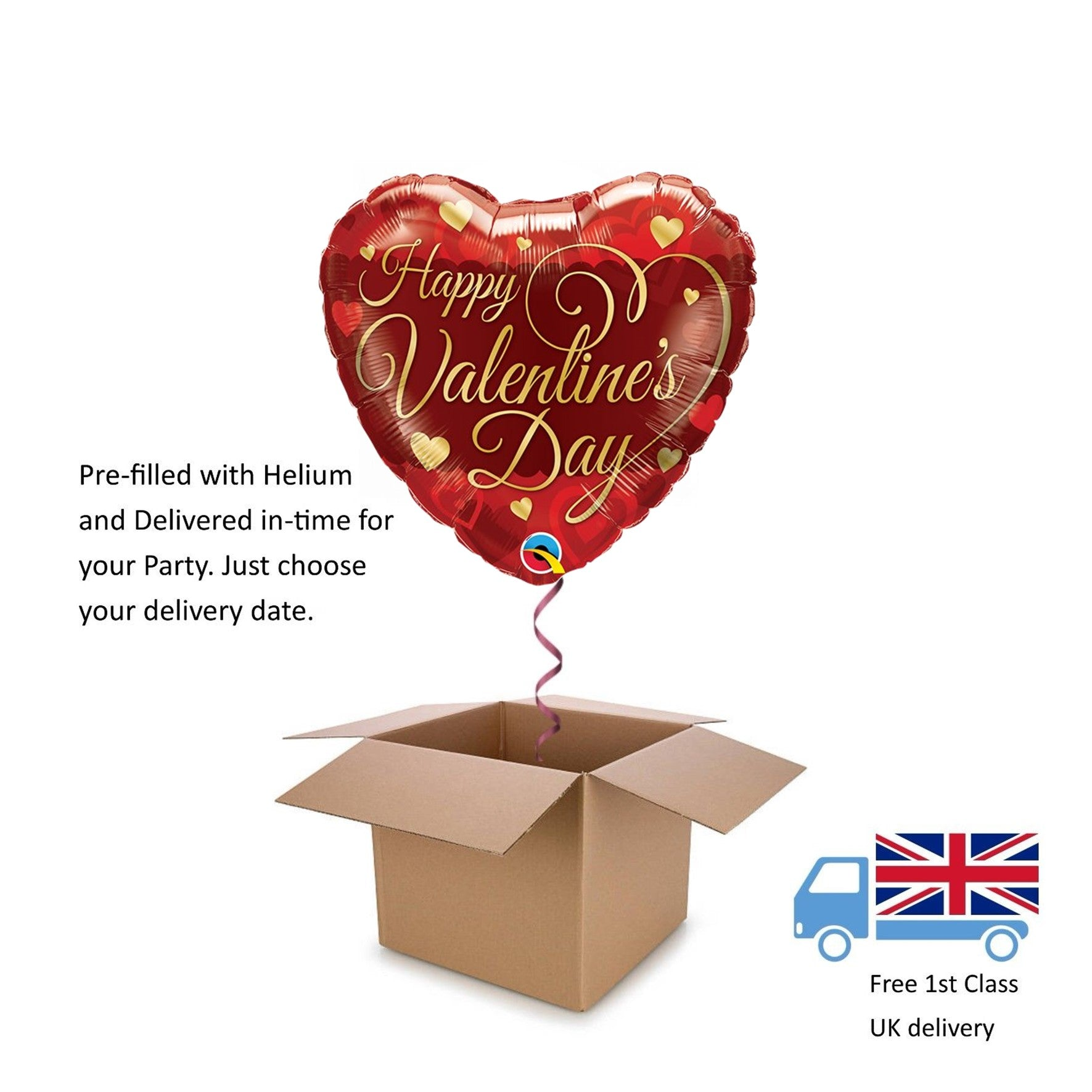"18"" Quataex Happy Valentine's Day Classic Happy Valentines Day Balloon in a Box"