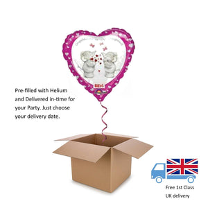 "18"" Anagram Engagement Heart Tatty Teddy Bear Balloon in a Box with Helium Gift"