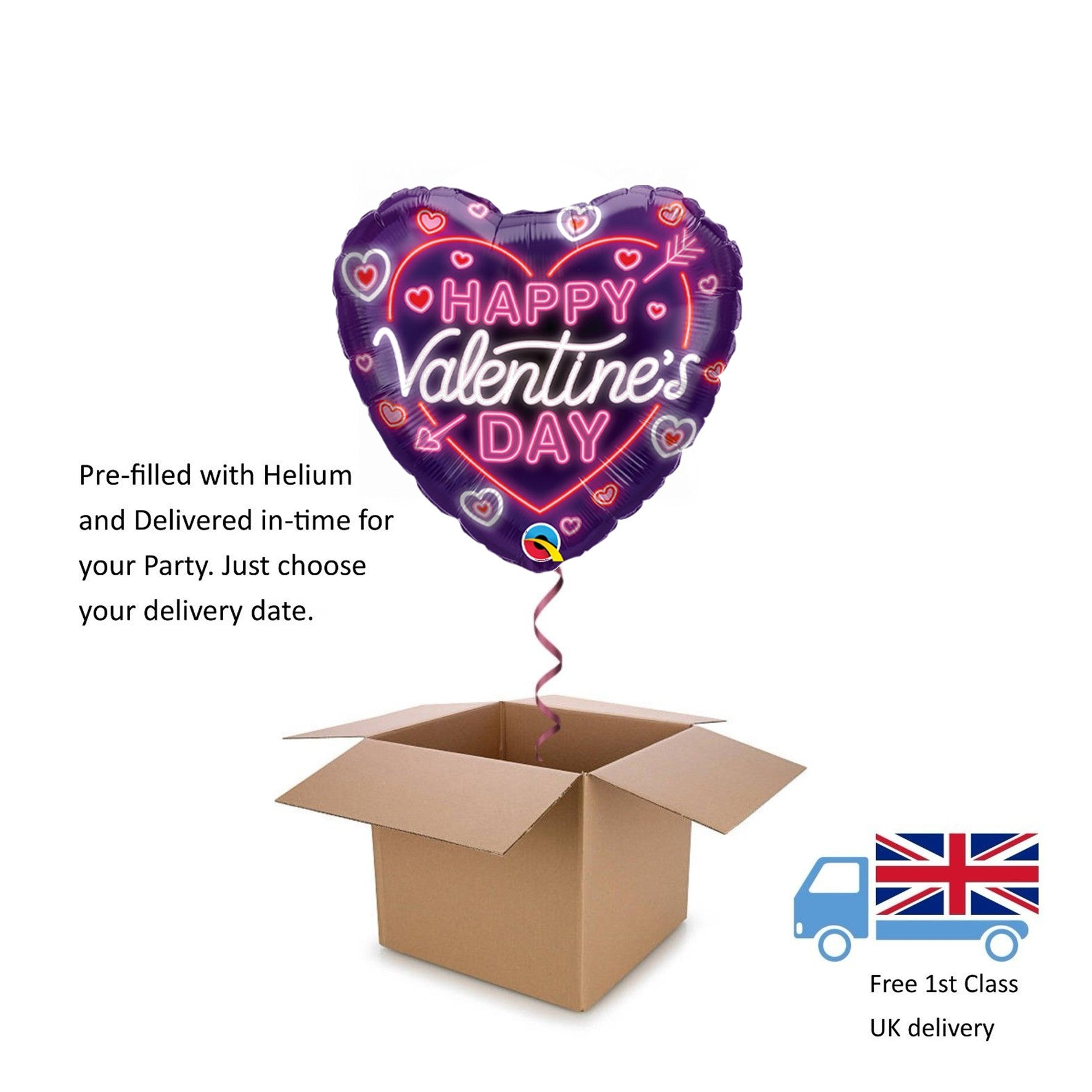 "18"" Qualatex Happy Valentine's Day Neon Glow Heart Helium Balloon in a Box Gift"