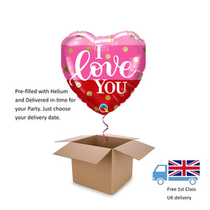 "18"" Qualatex I love you Ombre and Gold Dots Heart Helium Balloon in a Box Gift"