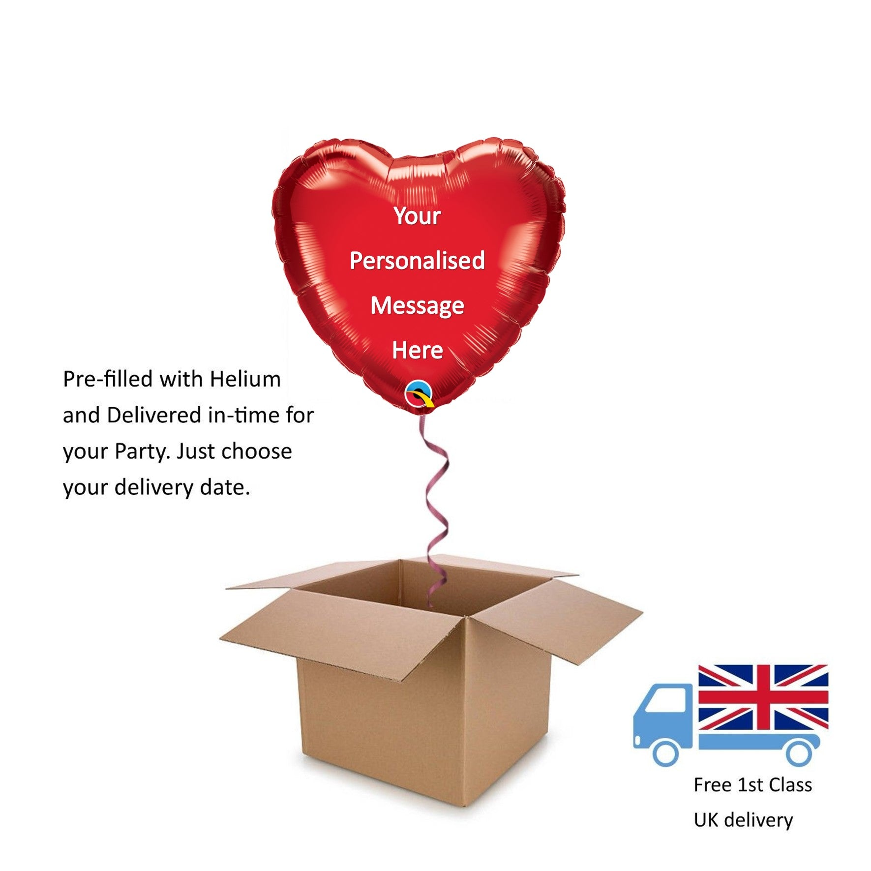 "18"" Personalised Qualatex Red Heart Balloon in a Box with Helium Anniversary"